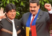Bolivian President Evo Morales (L) gestures alongside his Venezuelan counterpart President Nicolas Maduro. via EFE