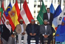 Members of The Muslims of America, Inc. conclude a press conference at the National Press Club in Washington, DC to draw attention to the atrocities being committed by Indian security forces against the Muslims of Kashmir. Announced also was the launch of a multi-dimensional awareness campaign and demand that the UN hold the plebiscite it resolved to in 1947 to give the Kashmiri people the right of self-determination.