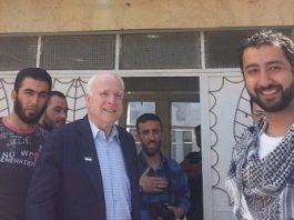 rom left to right: Abu Mosa – ISIS Press Officer, Abu Bakr Al-Baghdadi – Head of ISIS, Senator John McCain (R-AZ), Mohammad Noor – Syrian Terrorist, and Muaz Moustafa – Syrian Emergency Task Force at a meeting in Syria 2013.