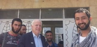 rom left to right: Abu Mosa – ISIS Press Officer, Abu Bakr Al-Baghdadi – Head of ISIS, Senator John McCain (R-AZ), Mohammad Noor – Syrian Terrorist, and Muaz Moustafa – Syrian Emergency Task Force at a meeting in Syria 2013.