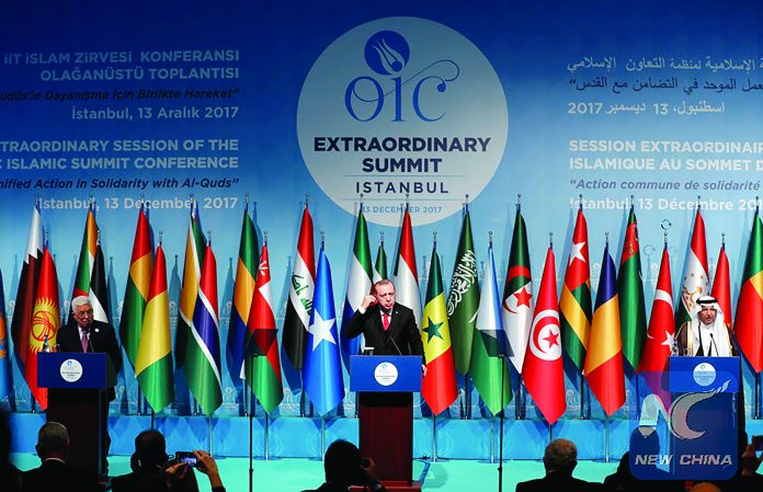 President of Turkey, Recep Tayyip Erdogan (center), and other OIC members at emergency summit held after US President Donald Trump declared Jerusalem the capital of Israel.